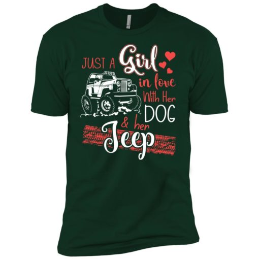 Jeep just a girl in love with jeep and her dog premium t-shirt