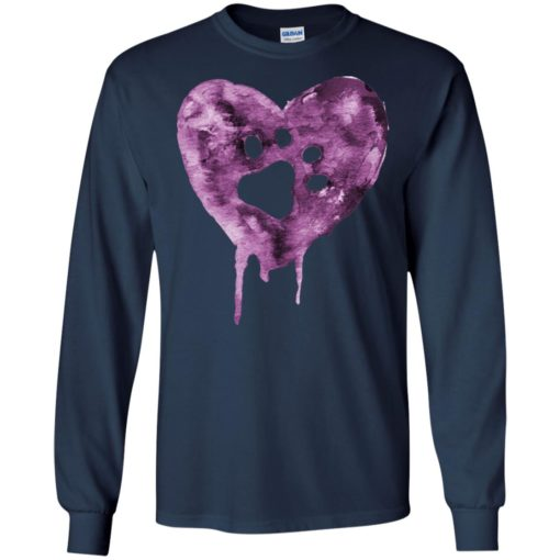 Watercolor heart purple paw mark dog lover puppy gift long sleeve