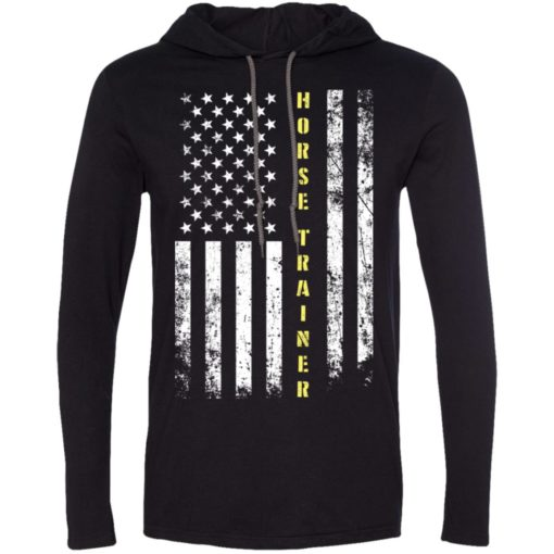 Proud horse trainer miracle job title american flag long sleeve hoodie