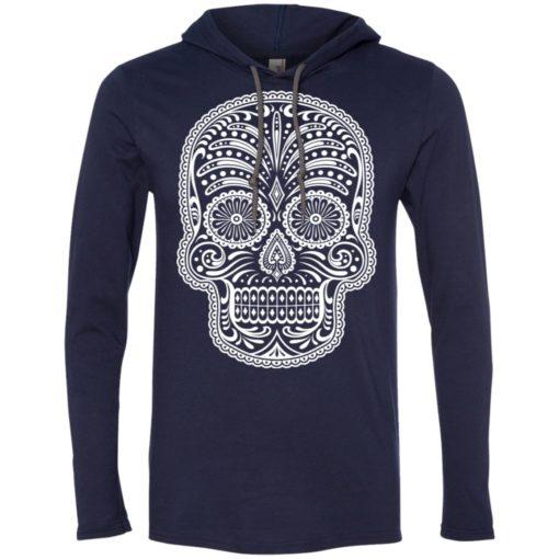 Mexican skull art 5 skeleton face day of the dead dia de los muertos long sleeve hoodie