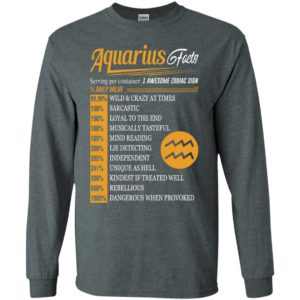 Aquarius facts serving per container awesome zodiac sign daily value long sleeve