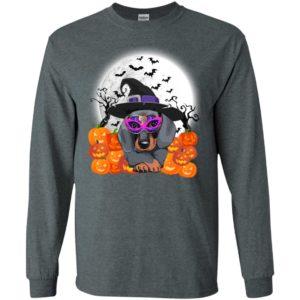 Dachshund full moon bats pumpkins cosplay in halloween long sleeve