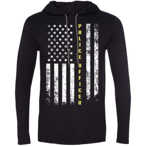 Proud police officer miracle job title american flag long sleeve hoodie