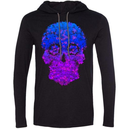 Mexican skull art 8 skeleton face day of the dead dia de los muertos long sleeve hoodie