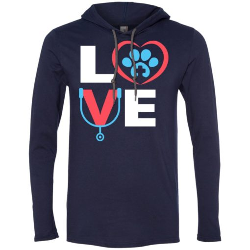 Veterinarian gift love dog pet lover best vet tech gift long sleeve hoodie