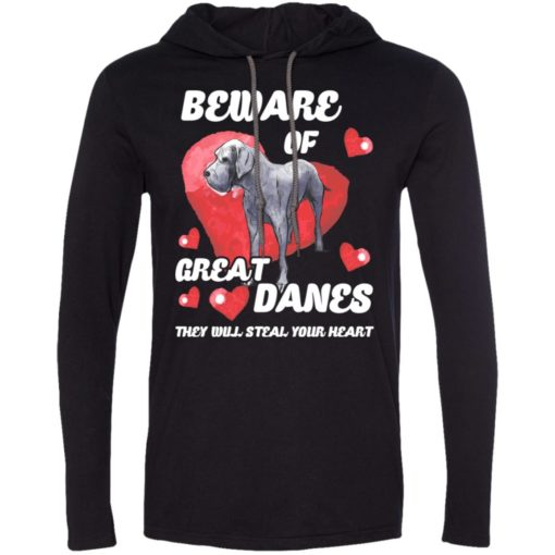 Dog lovers gift beware of great danes long sleeve hoodie