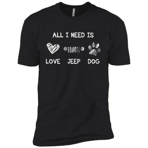 All i need is love jeep and dog premium t-shirt