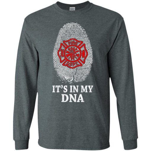 Firefighter it's in my dna graphic fingerprints proud fathers day long sleeve
