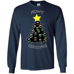 Meowy christmas sweatshirt merry meowy xmas gift for cat lovers long sleeve