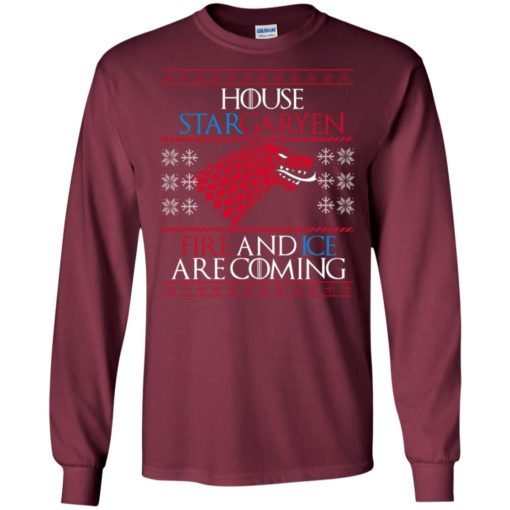 Casa stark game of thrones house targaryen fire and ice are coming long sleeve