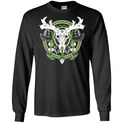 Skull horn deer graphic printed indian style hunting lover long sleeve