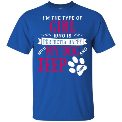 Girl perfectly happy with dog and jeep t-shirt