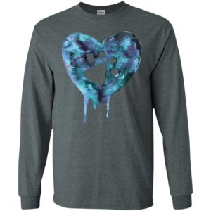 Watercolor heart blue paw mark dog lover puppy gift long sleeve