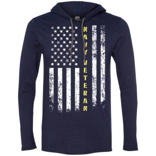 Proud navy veteran miracle job title american flag long sleeve hoodie
