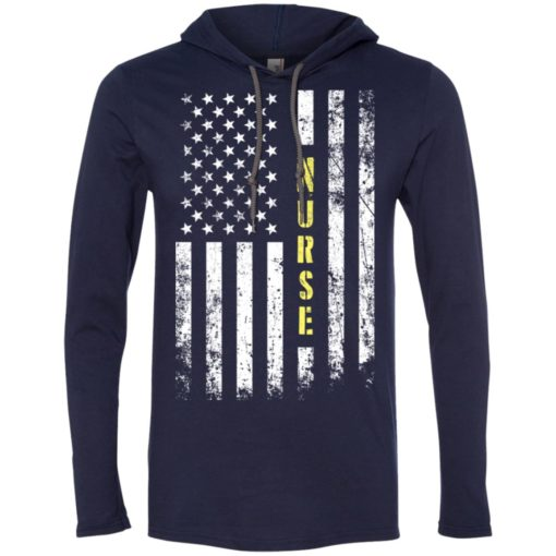 Proud nurse miracle job title american flag long sleeve hoodie