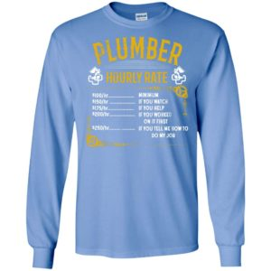 Plumber hourly rate price list with each kind long sleeve