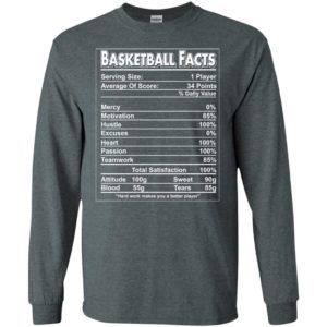 Basketball facts label funny define for players long sleeve