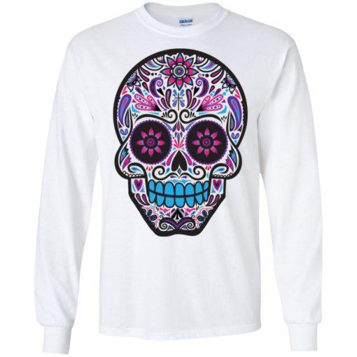 Mexican skull art 3 skeleton face day of the dead dia de los muertos long sleeve