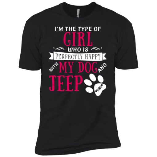 Girl perfectly happy with dog and jeep premium t-shirt