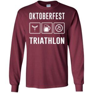 Oktoberfest triathlon beer festival love drinking hotdog music long sleeve