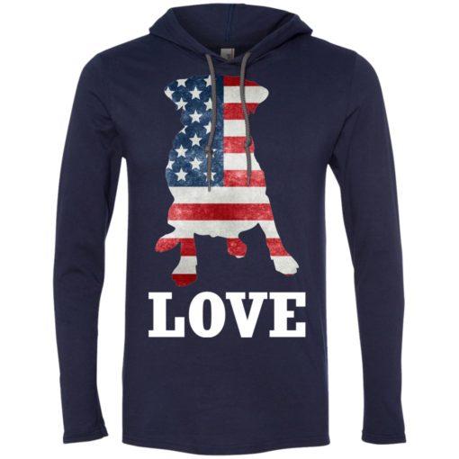 Dog lovers gift patriotic american flag dog long sleeve hoodie