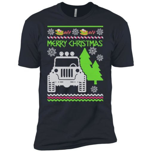 Ugly jeep sweater christmas gift for jeep lover owner addicted premium t-shirt
