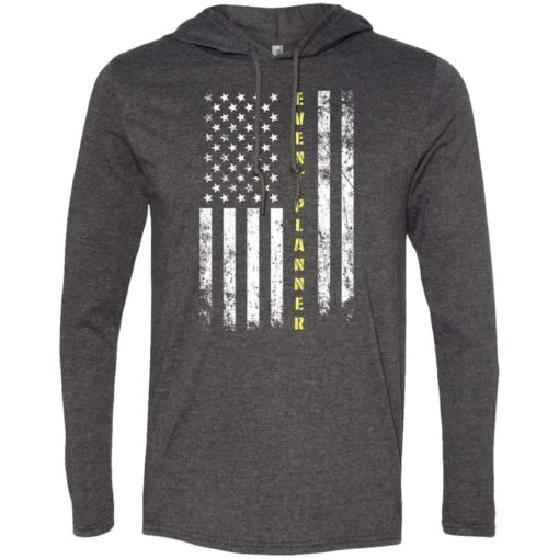 Proud event planner miracle job title american flag long sleeve hoodie