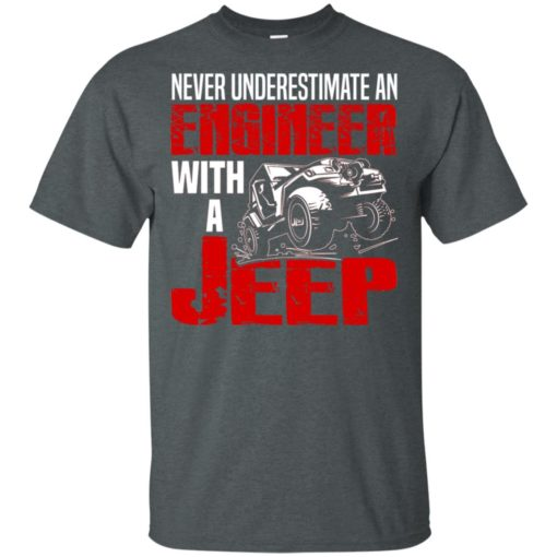 Never underestimate engineer with jeep t-shirt