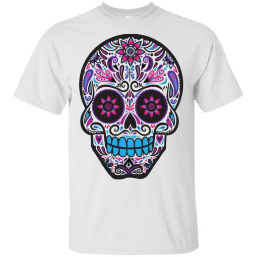 Mexican skull art 3 skeleton face day of the dead dia de los muertos t-shirt