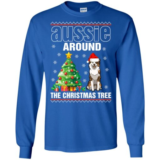Australian shepherd aussie around the christmas tree long sleeve