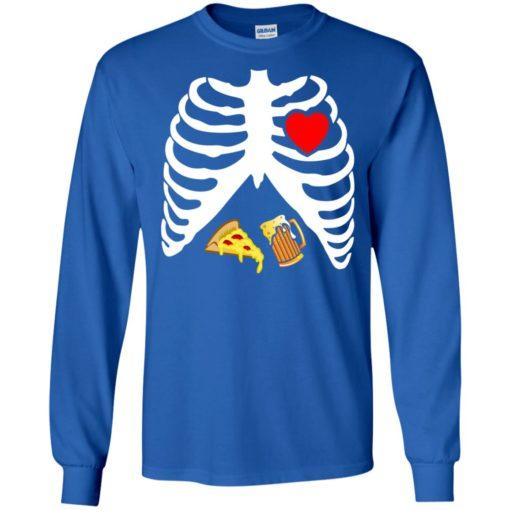 Halloween skeleton maternity pizza & beer long sleeve