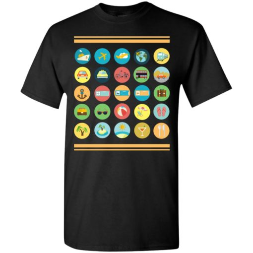 Traveller t-shirt with 40 icons to communicate gift t-shirt