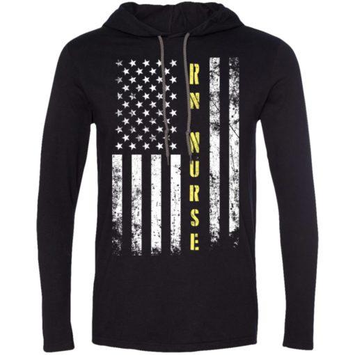 Proud rn nurse miracle job title american flag long sleeve hoodie