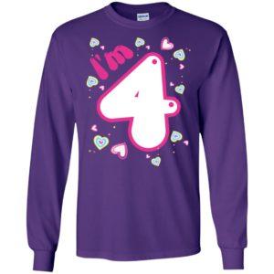 4th birthday gift shirt cute im 4 years old girl kids long sleeve