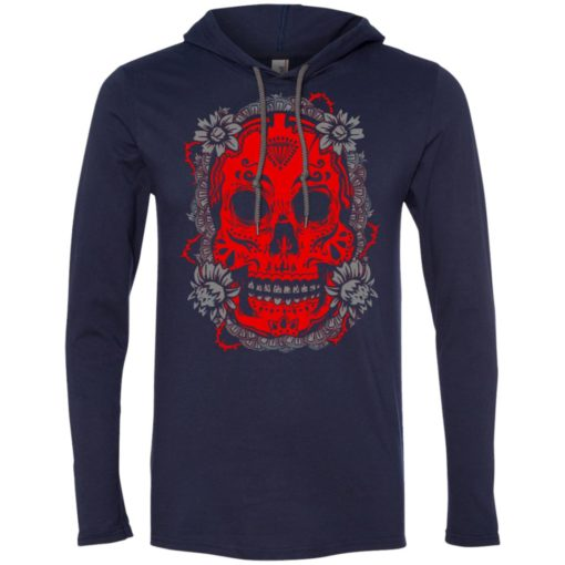 Mexican skull art 4 skeleton face day of the dead dia de los muertos long sleeve hoodie