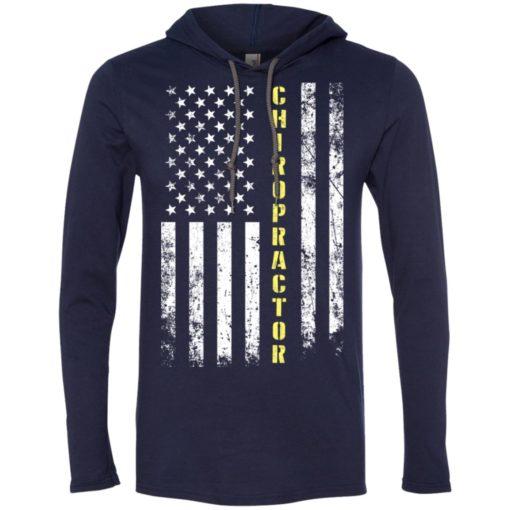 Proud chiropractor miracle job title american flag long sleeve hoodie
