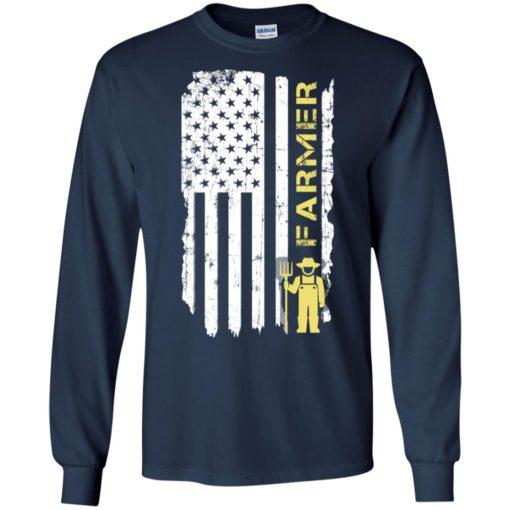 Proud farmer gift american farmer flag job title long sleeve