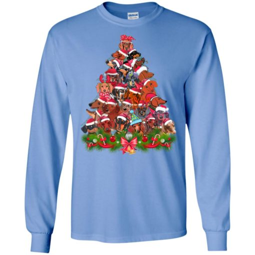 Dachshund christmas tree art ugly sweater xmas dog lover long sleeve