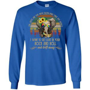 Elephant playing guitar peace sign i want to get lost in your rock and roll long sleeve