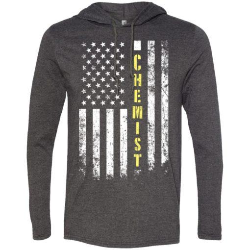 Proud chemist miracle job title american flag long sleeve hoodie
