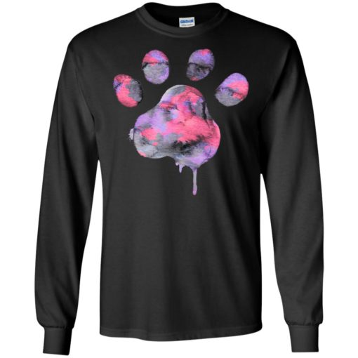 Watercolor purple paw art dog cat pet lover protect animals long sleeve