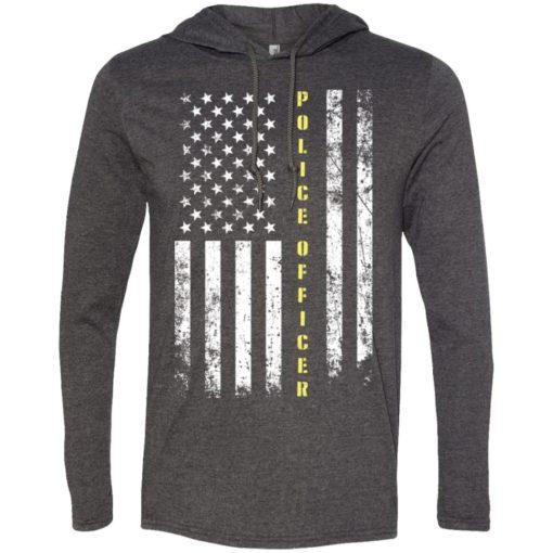 Proud police officer miracle job title american flag long sleeve hoodie