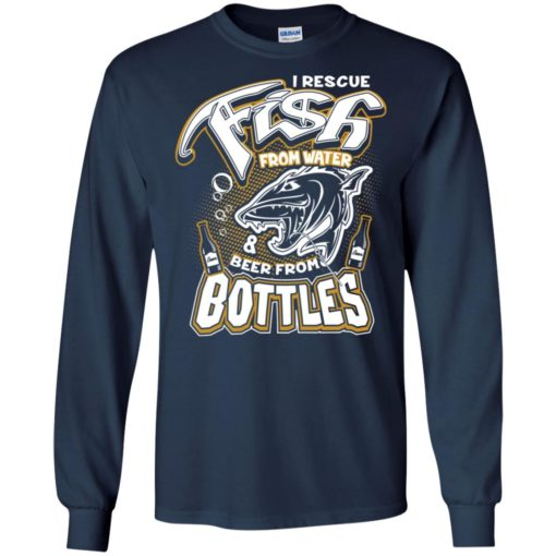 I rescue fish from water beer from bottles funny drinking gag fishing gift long sleeve