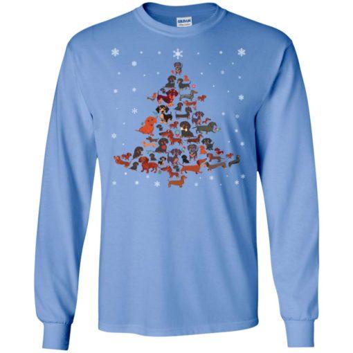 Dachshund christmas tree artwork ugly sweater xmas dog lover long sleeve