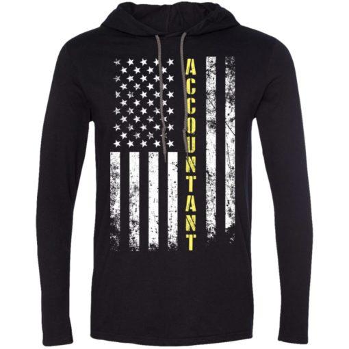 Proud accountant miracle job title american flag long sleeve hoodie