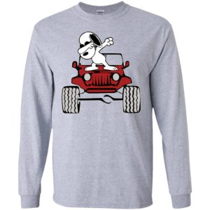 Dabbing snoopy on the jeep funny dance jeep driver gift long sleeve