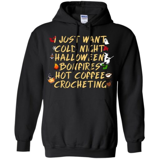 I just want cold night hot coffee halloween quote gift hoodie