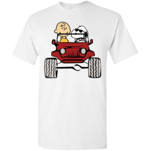 Charlie and snoopy drive jeep funny jeep fan gift t-shirt