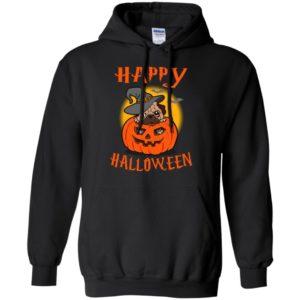 Happy halloween pug with pumpkin funny halloween gift dog lover hoodie