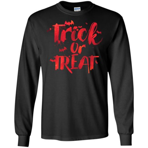 Trick or treat with bats red art funny halloween lover gift long sleeve
